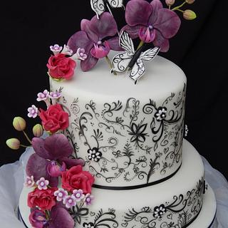 Hand painted Monochrome wedding cake.