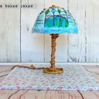Hand painted Tiffany lamp cake