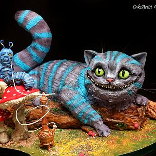 3D-cake. Cheshire cat. Alice's adventures in wonderland.