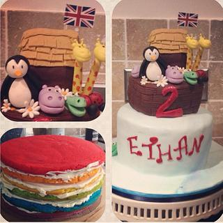 Noah's Ark Rainbow Cake