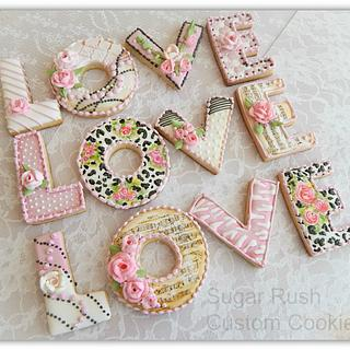 """Love"" Royal Icing Valentine Cookies"
