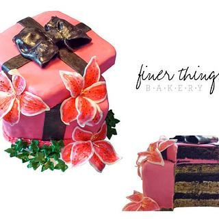 Gift Box Cake with Lilies - Cake by Finer Things Bakery