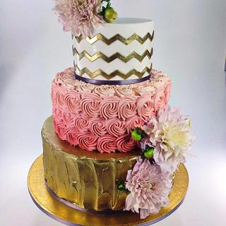Gold Chevron - Cake by Sweet Traders