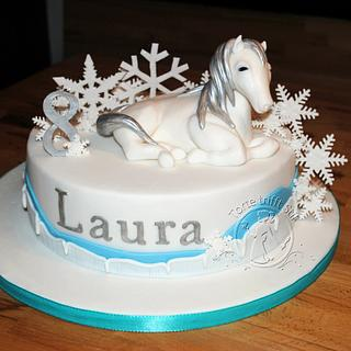 snow white winter horse