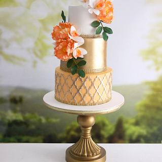 Peach And Gold !  - Cake by Signature Cake By Shweta