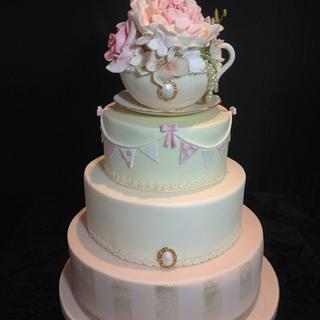 Vintage English Teacup and Saucer Wedding Cake