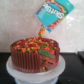 skittles cake :)  - Cake by karlie