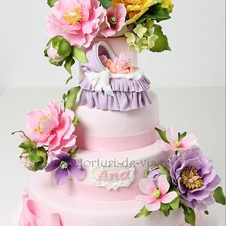 Pink Christening cake with flowers