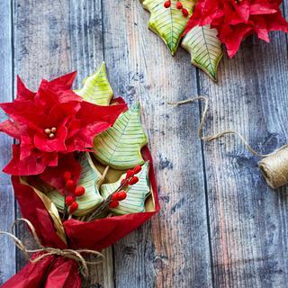 Poinsettia cookie bouquet