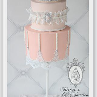 Pink and lace gravity defying cake - Cake by Berber's Cakes & Moulds