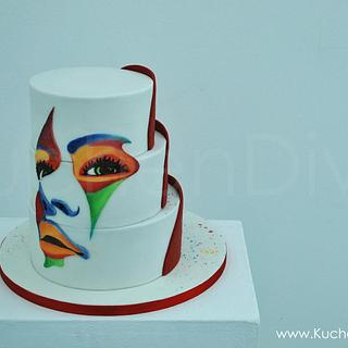 Colourful art inspired cake