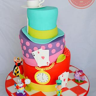 Alice in Wonderland Mad Hatters Tea Party Cake - Cake by Strawberry Lane Cake Company