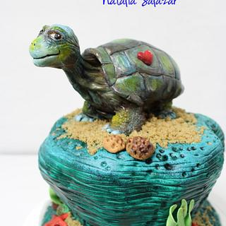 """George"" The Galapagos tortoise for Animal Rights collaboration."