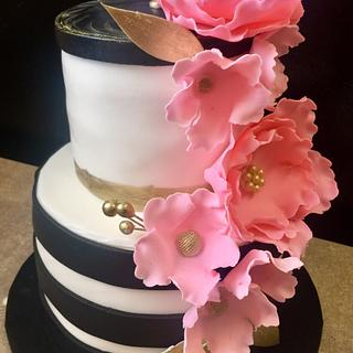 Black and white cake with flowers