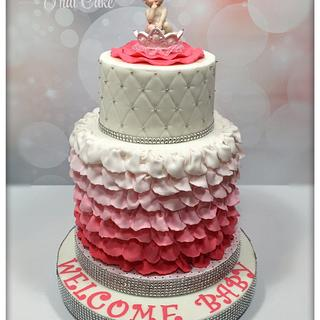 Pink ruffles ombré baby shower cake