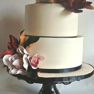 Simple Magnolia Bridal Shower Cake
