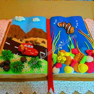 Mcqueen and Finding Nemo themed Open Book Cake