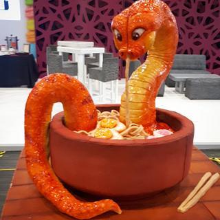 Snake on Ramen Soup cake - Cake by Laura Reyes
