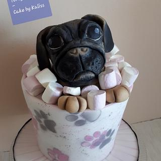 Pug in marshmallow - Cake by Kaliss