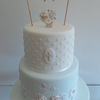 Little Lambs Christening Cake