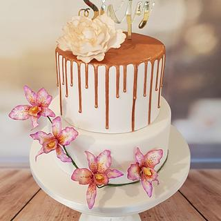Rose-Gold Peony & Orchids Drip Cake