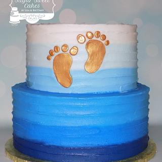 BC Stripes & Baby Feet - Cake by Sugar Sweet Cakes