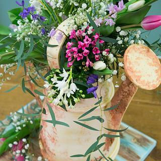 Vintage Watering Can Cake with Fresh Flowers - Cake by Paul Bradford Sugarcraft School
