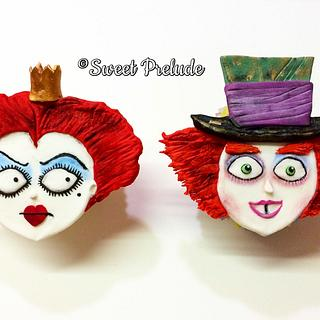 Queen of hearts and Mad Hatter cupcakes