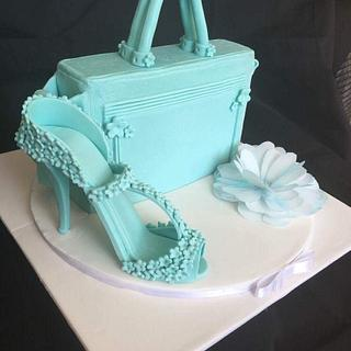 Tiffany blue handbag and matching shoe.