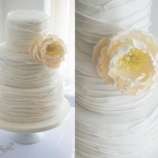 Open Peony Ruffle Wedding Cake