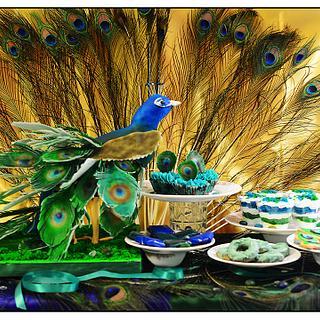 PDCA Caker Buddies Dessert Table Collaboration - Peacock