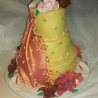 Indian wedding cake with a sari wrap