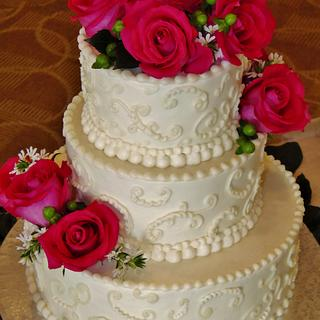 Pink Passion buttercream wedding cake