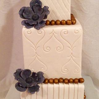 Bronze and Blue Wedding cake