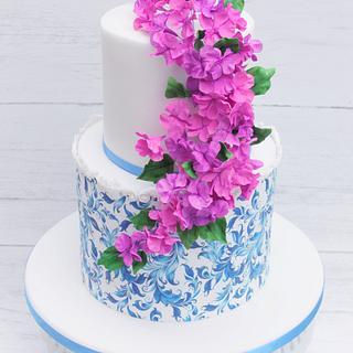 Fantasy bourganvillea flower cake  - Cake by Lynette Brandl