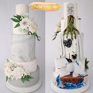 Double sided wedding cake