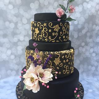 Flowery Night Wedding Cake