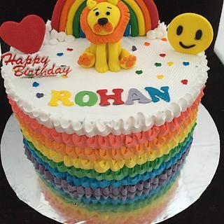Fresh cream rainbow cake !!