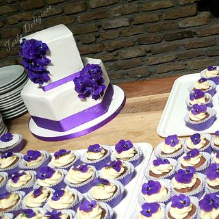 Wedding cake with edible violets