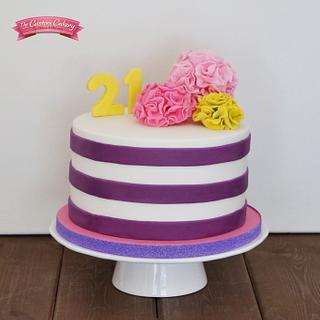 Bright Stripes and Pom Poms - Cake by The Custom Cakery