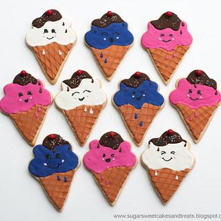 Ice Cream Cone Cookies - Kawaii Cute