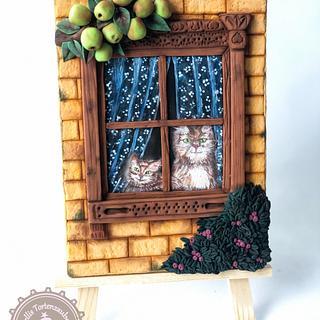Cat's on the window  - Cake by MellisTortenzauber