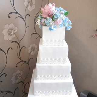 Pastel Blooms Wedding Cake - Cake by Mimi's Sweet Treats