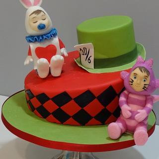 Alice in wonderland christening cake
