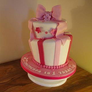 2 Tiered topsy turvy wonky 1st birthday cake
