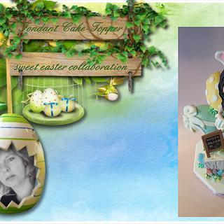 """Fondant Cake Topper Sweet Easter Collaboration"". easter bunny girl"