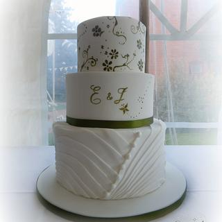 Olive green hand painted wedding cake
