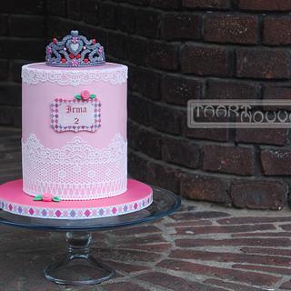 Princess Cake with Lace and a Tiara