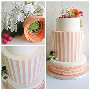 """Stripes"" Peach and White Wedding Cake"