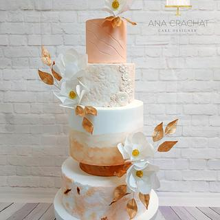 Coral textured Wedding Cake